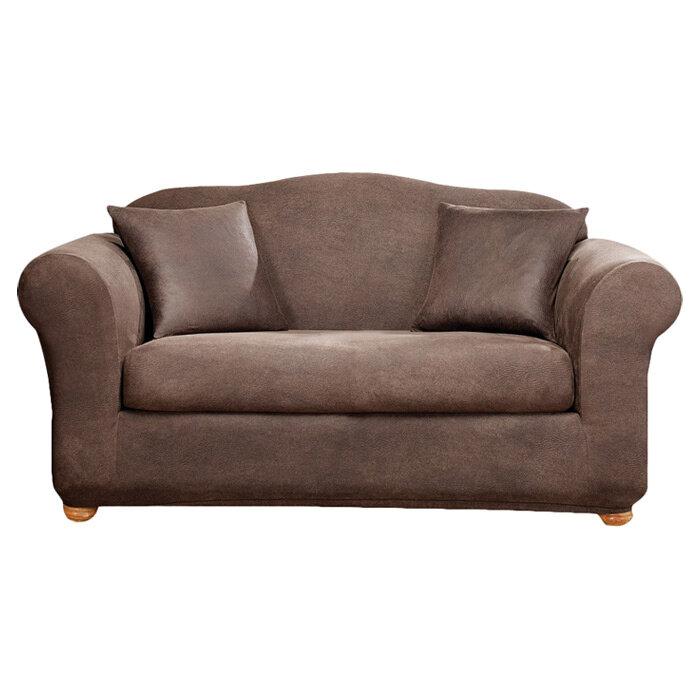 Sure Fit Stretch Leather Box Cushion Sofa Slipcover U0026 Reviews | Wayfair