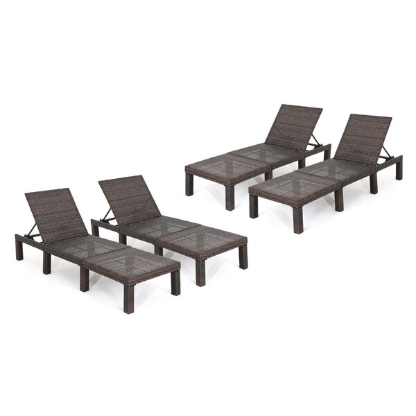 Douglass Circle Reclining Chaise Lounge (Set of 4) by Ebern Designs
