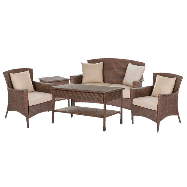 Simoneau Provencal 5 Piece Rattan Sofa Set with Cushions by One Allium Way