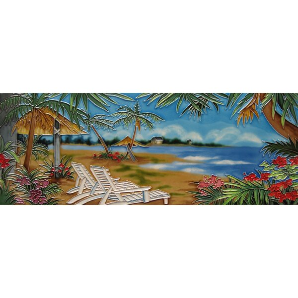 Horizontal Beach Chair Tile Wall Decor by Continental Art Center
