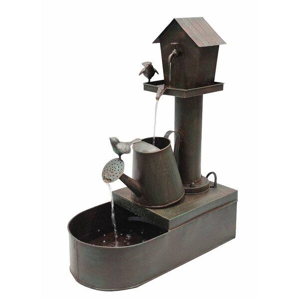 Iron Birdhouse into Watercan Floor Fountain by Benzara