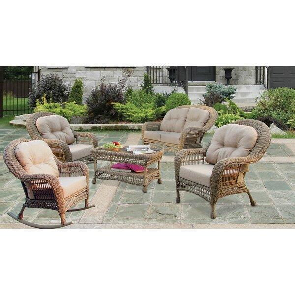 Denney Outdoor Garden 5 Piece Seating Group with Cushions by Highland Dunes