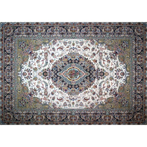 Napper Hand Look Persian Wool Green/Ivory/Blue Area Rug