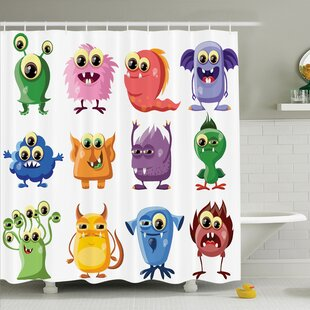 Searching for Kids Cartoon Alien Monsters Shower Curtain Set By Ambesonne