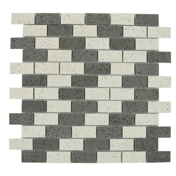 Mini Brick Engineered Stone Tile in Gray/White by Byzantin Mosaic