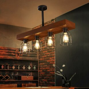 Darion Farmhouse 4 Light Kitchen Island Bulb Pendant
