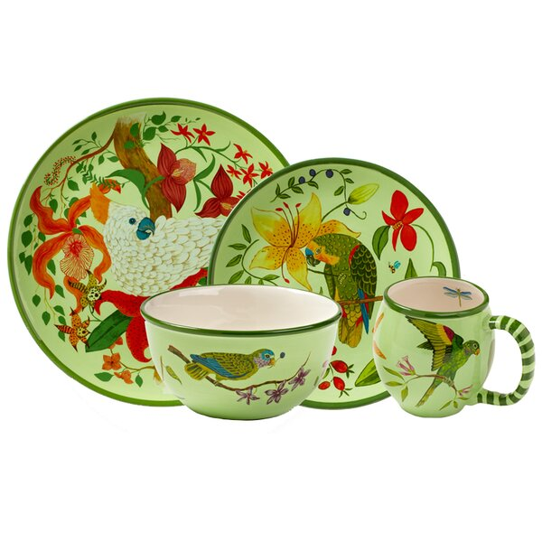 Parrotdise 16 Piece Dinnerware Set, Service for 4 by Lynn Chase Designs