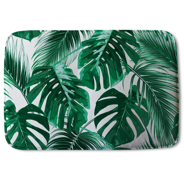 Wedemeyer Palm Leaves Designer Rectangle Non-Slip Floral Bath Rug