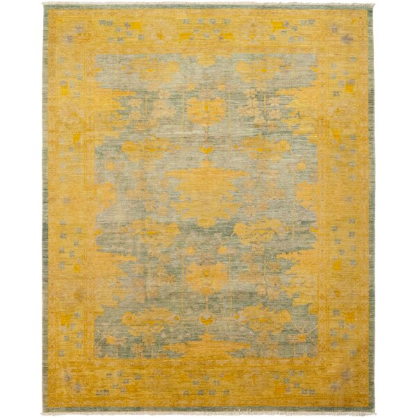 One-of-a-Kind Alice Hand-Knotted Wool Yellow Indoor Area Rug by Isabelline