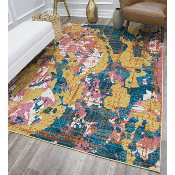 Amelie Gold/Blue Area Rug by CosmoLiving by Cosmopolitan