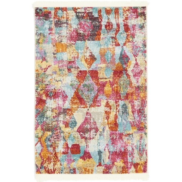 Yearsley Red/Beige/Blue Area Rug by Bungalow Rose