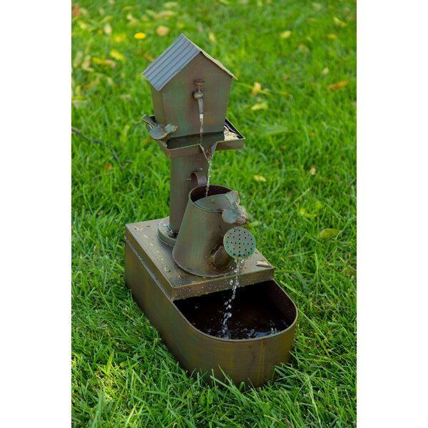 Metal Birdhouse Into Watercan Floor Fountain by Alpine