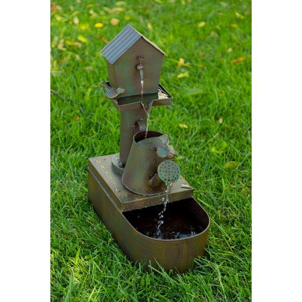 Metal Birdhouse Into Watercan Floor Fountain by Alpine