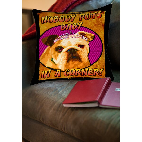 Sassys Dog Baby Printed Throw Pillow by Manual Woodworkers & Weavers