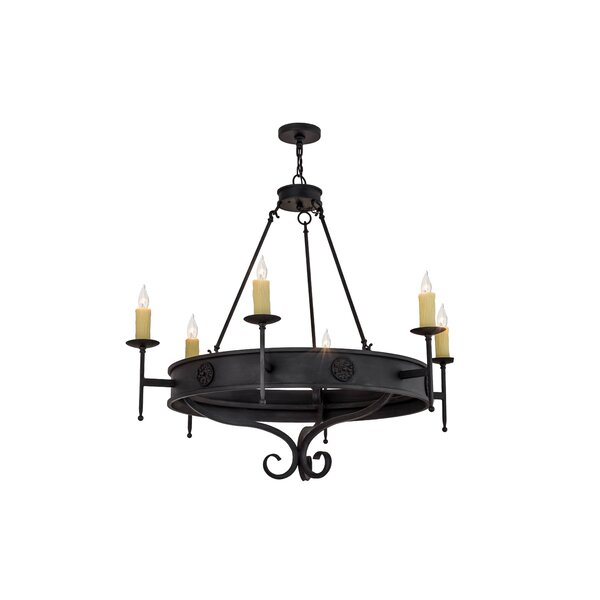 Enola 6 - Light Candle Style Wagon Wheel Chandelier by Astoria Grand Astoria Grand