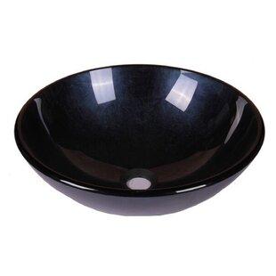 Look for Foil Tempered Glass Circular Vessel Bathroom Sink ByJano Sanitary