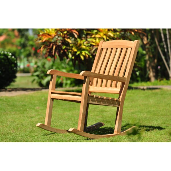 Makris Grade A Devon Teak Rocking Chair by Highland Dunes