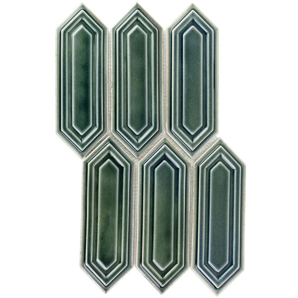 Oracle Capri Hexagon 3.2 x 7.75 Ceramic Mosaic Tile in Green by Splashback Tile