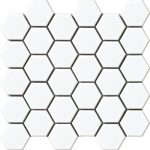 Vintage 2 x 2 Porcelain Mosaic Tile in White Hexagon by Walkon Tile