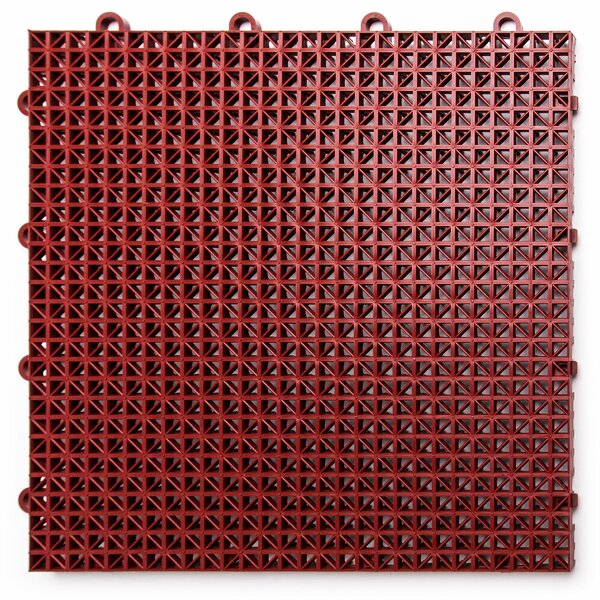 12 x 12 Plastic Interlocking Deck Tile in Brick Re