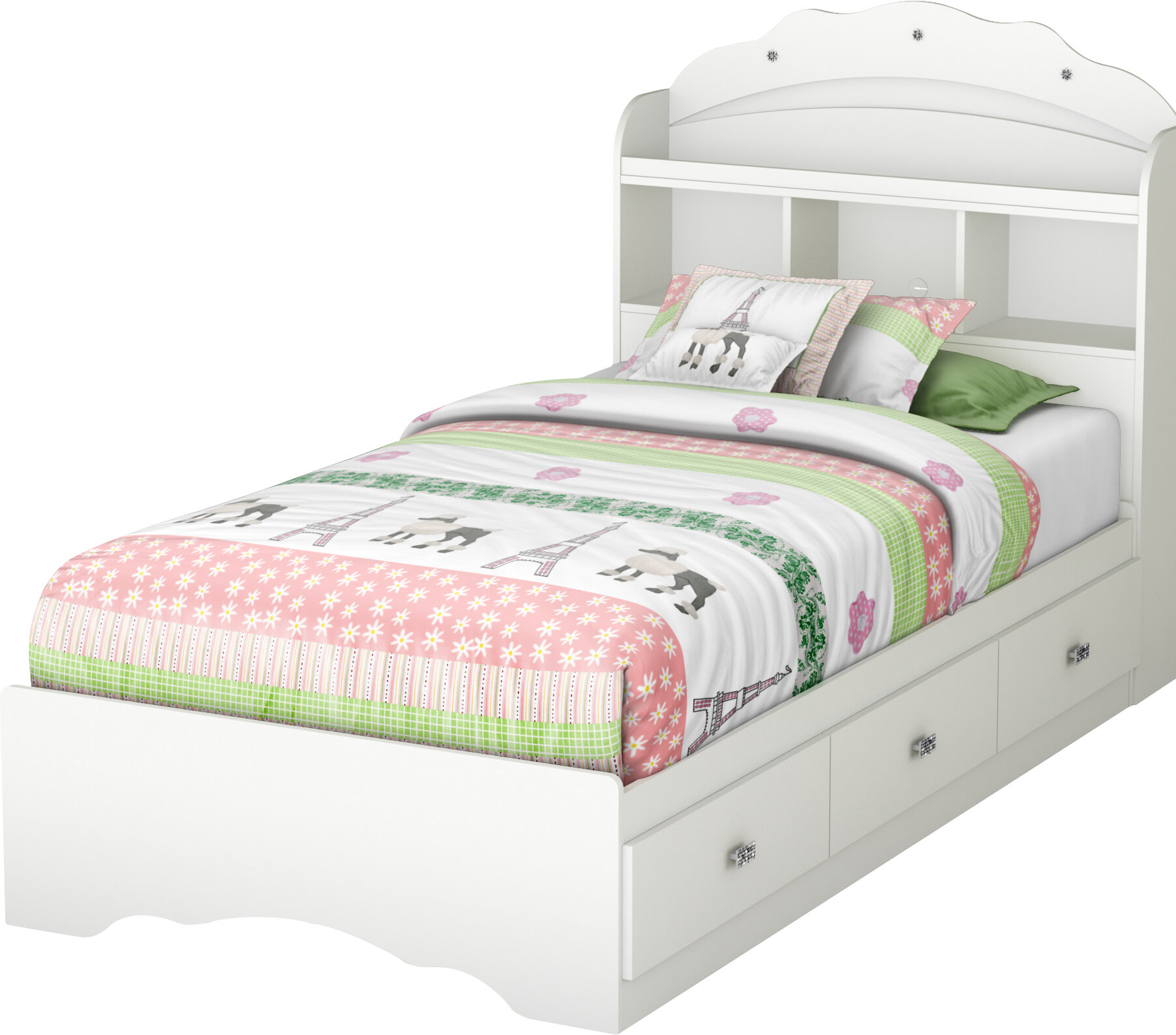 South S Tiara Twin Mate Bed With Storage And Headboard Reviews Wayfair
