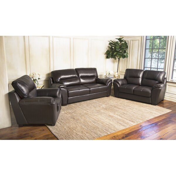 Pennington Leather 3 Piece Living Room Set by Darby Home Co