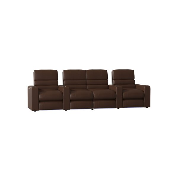 Blue LED Home Theater Curved Row Seating (Row Of 4) By Latitude Run