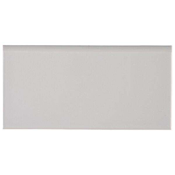 Domino Single 6 x 3 Ceramic Bullnose Tile Trim in Gray by MSI