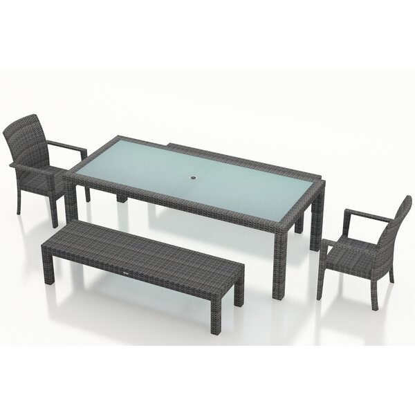 District 5 Piece Sunbrella Bench Dining Set by Harmonia Living