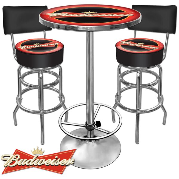 Budweiser 3 Piece Pub Table Set by Trademark Global