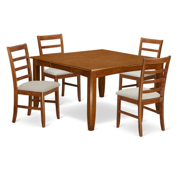 Parnassus 5 Piece Extendable Solid Wood Dining Set by August Grove