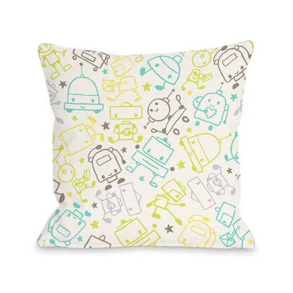 Space Robots Throw Pillow by One Bella Casa
