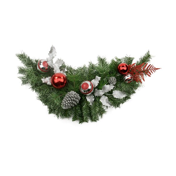Pre-Decorated Holly Ball Cedar and Pine Cone Artificial Christmas Swag by Northlight Seasonal