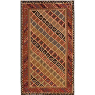 Comparison One-of-a-Kind Renfrow Tribal Qashqai Persian Hand-Knotted 5' 8'' x 9' 6'' Wool Red/Brown/Black Area Rug By Isabelline