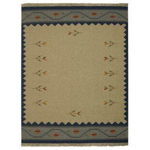 Great Price St Catherine Handmade Wool White Blue Area Rug By Millwood Pines