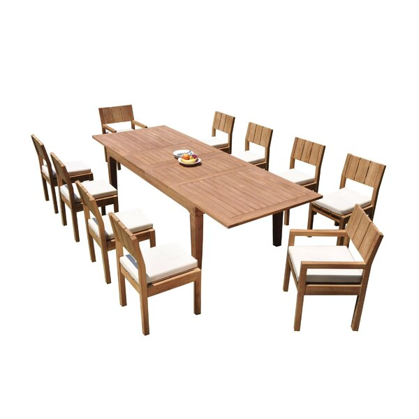 Macarthur 11 Piece Teak Dining Set by Rosecliff Heights