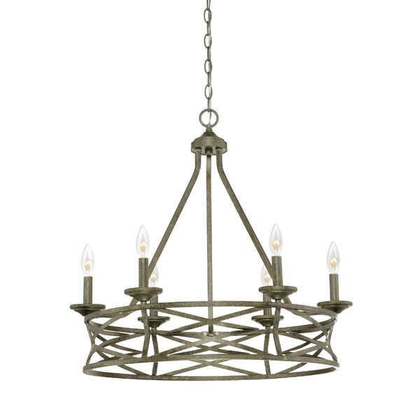 Rodden 6 - Light Candle Style Wagon Wheel Chandelier by World Menagerie World Menagerie