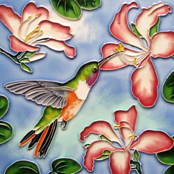Hummingbird with Pink Flowers Tile Wall Decor by Continental Art Center