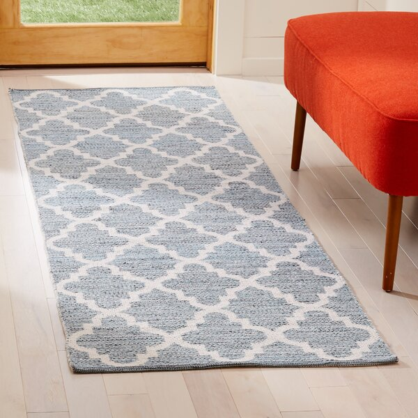 Eliana Hand-Woven Cotton Teal/Ivory Area Rug by Highland Dunes
