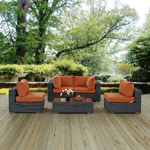 Summon 5 Piece Sunbrella Sectional Set with Cushions By Modway