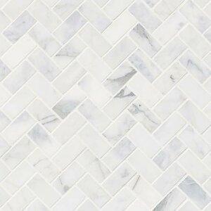 Lenita Herringbone Honed Marble Mosaic Tile In White