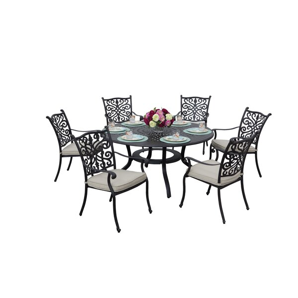 Belton 7 Piece Dining Set with Cushions by Fleur De Lis Living
