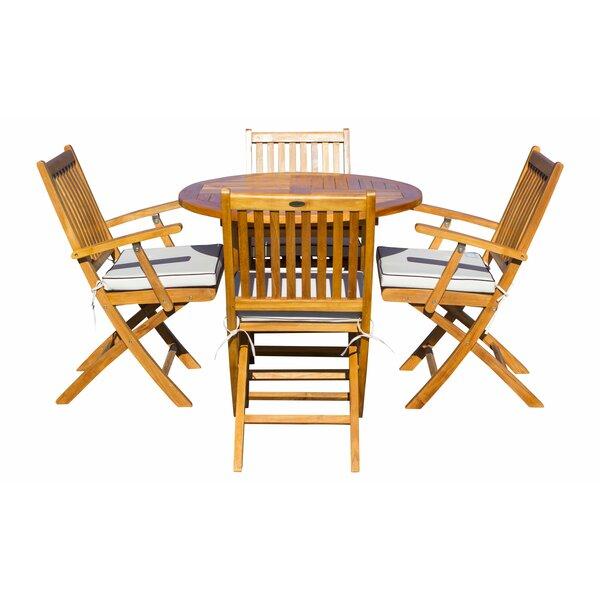 Everleigh 5 Piece Teak Sunbrella Dining Set with Cushions by Bay Isle Home
