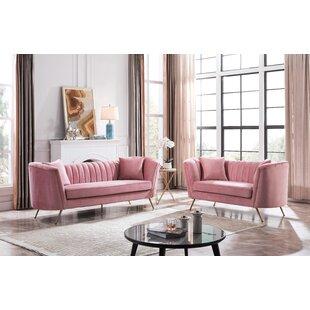 Pedraza 2 Piece Velvet Living Room Set by Everly Quinn