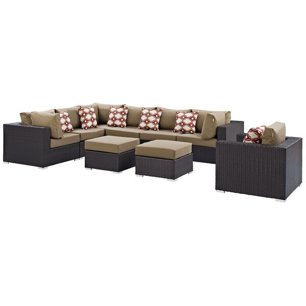 Brentwood 9 Piece Rattan Sectional Seating Group with Cushions by Sol 72 Outdoor