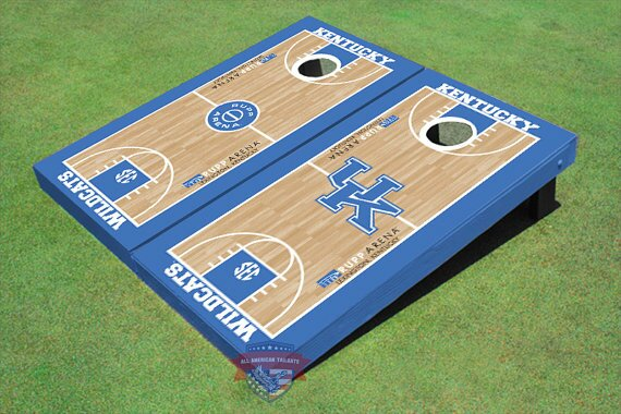 University of Kentucky Alternating UK Logo and Rupp Arena Basketball Court Cornhole Board (Set of 2) by All American Tailgate