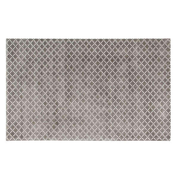 Teressa Diamond Hand-Woven Wool Gray Area Rug by Mercer41