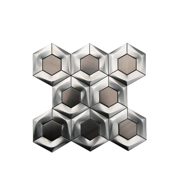 3D Arrowhead Hexagon 4 x 4 Metal Mosaic Tile in Gray by Luxsurface