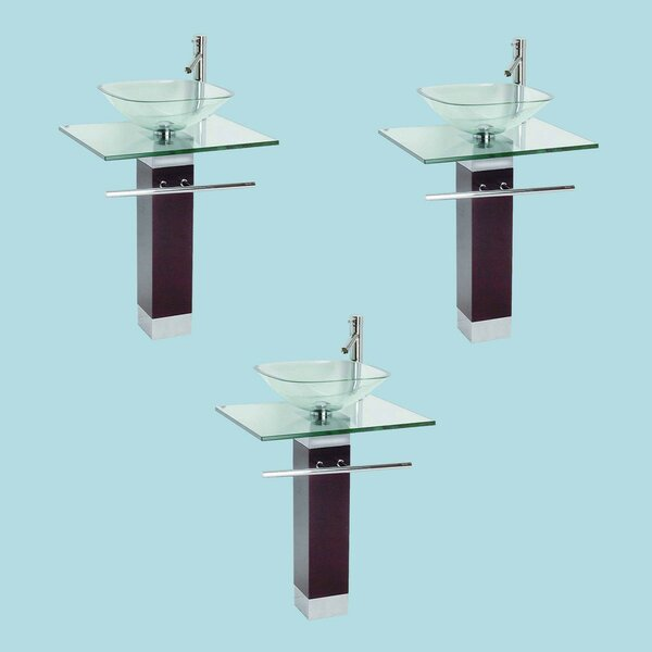 Glass Square Pedestal Bathroom Sink with Faucet (Set of 3)