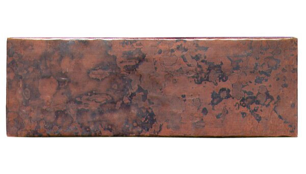 Plain Hammered 6 x 2 Copper Border Tile in Dark Copper by D'Vontz
